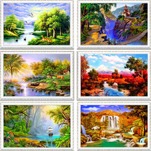 New full Diy diamond painting kit 3D cross stitch Square Diamond embroidery Autumn Scenic Brudge  Mosaic Crafts