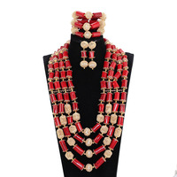 African red coral beads jewelry set african coral beads jewelry set wedding costume jewelry set vintage jewelry gold JB093