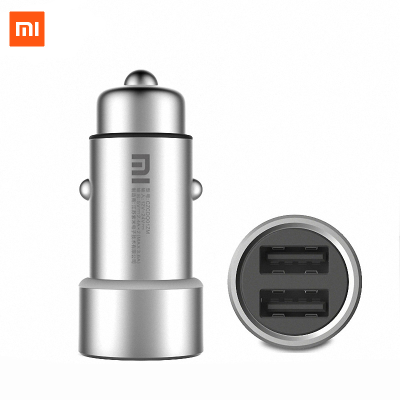 Xiao mi mi auto ladegerät 5 v/3.6A dual USB Metall Alle-metall Äußere gehäuse Dual USB Port unterstützung von schnelle lade technologie