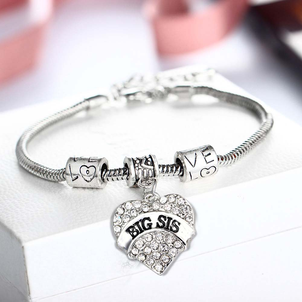 Middle Little Sister Sis Clear Crystal Heart Bracelet Love Beads Lovely Family Girl Gift Bangle Best Friends Party Shiny Jewelry
