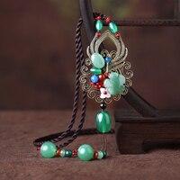 Kazak zinciri uzun ulusal gümrük kolye Dongling yeşim akik yeşil süsler orijinal bayanlar kolye