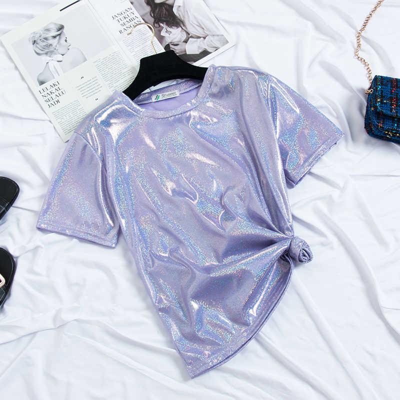 HELIAR 2019 été femmes T-shirt 'O cou Satin lumière brillant tissu dame Sexy boîte de nuit T-shirt plissé taille à manches courtes T-shirt