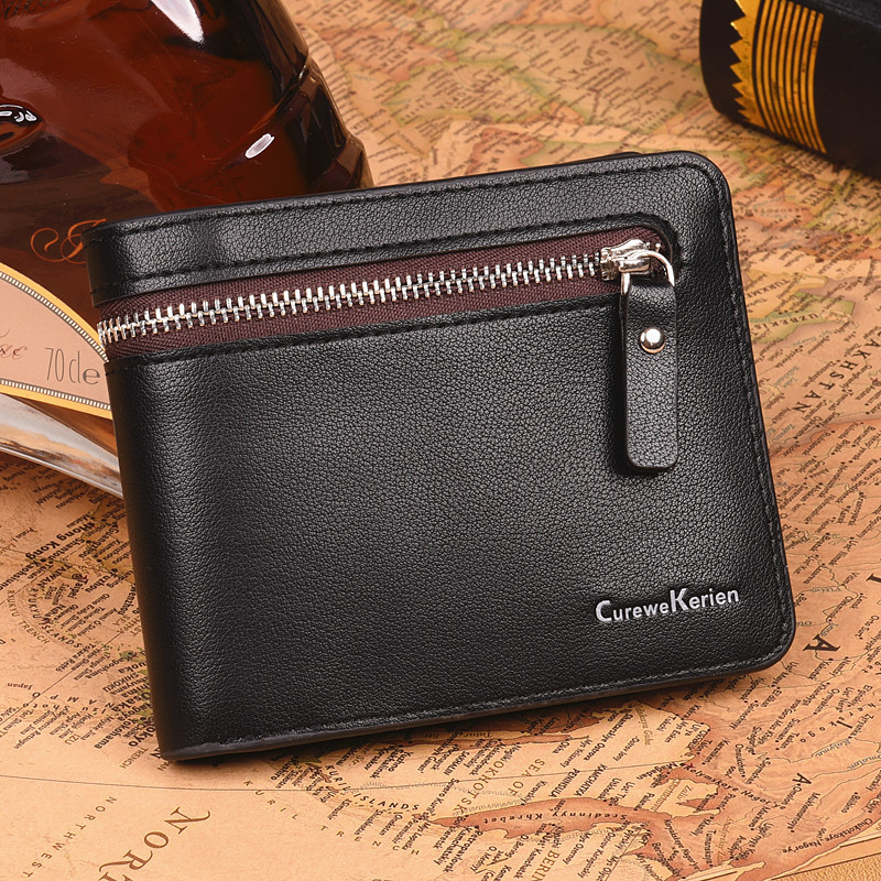 CUREWE KERIEN Brand Luxury Cowhide Leather & PU Men Short Wallet Clutch Bag Coin Purse Small Vertical Wallet Business Design