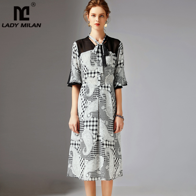 2019 100% шелк Женская взлетно посадочной полосы платья для женщин воротник бант Половина рукава печатных лоскутное Элегантные Дизайнерские