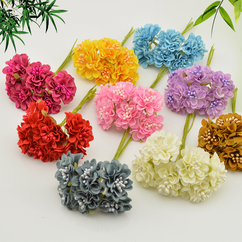 6 pcs Gift box Scrapbooking Mini Carnation silk Artificial Flowers Bouquet For Wedding Decoration DIY Wreath Craft Fake Flower
