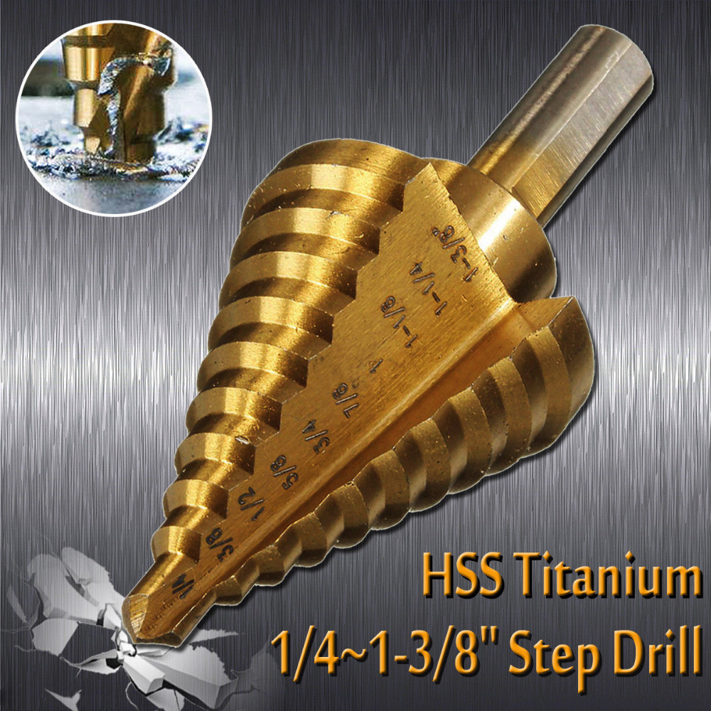 1/4' To 1-3/8' Titanium 10 Step Drill Bit HSS Cobalt Unibit Tool For Sheet Metal