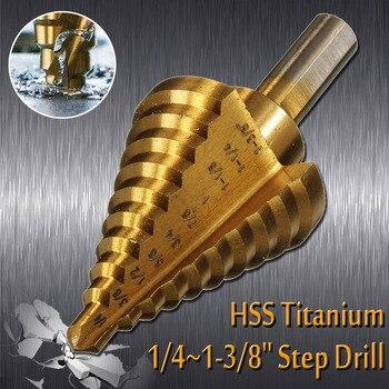 Broca de titanio de 10 escalones de 1/4 a 1-3/8 HSS cobalto Unibit herramienta para chapa metálica