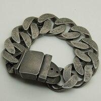 2.4cm width cool men/boy simple vintage design cowboy punk belt buckle heavy stainless steel chain bracelet 3size match