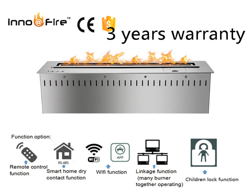 24 Inch Wifi Intelligent Smart Silver Or Black Automatic Remote Control Ethanol Indoor Fire Place