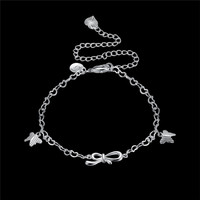925 Sliver Anklet Chain Foreign Trade Simple Zircon Style Barefoot Fashion Jewelry geometry 18 style Anklets