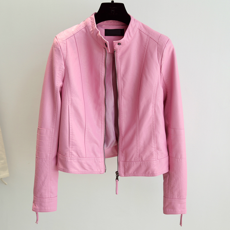 Womens Pink Stand Collra Faux   Leather   Slim Short Jacket Autumn Korean PU   Leather   Brief Motorcycle Jacket & Outerwear