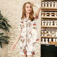 Summer Women Pajamas New Sleep Set Rayon Shirt&Shorts Sexy Female Pajamas Suit Charming 2PCS Print Home Clothes Soft 2 PCS