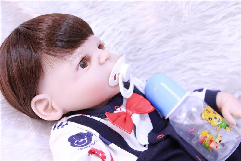 52 см коричневые волосы принцесса Bonecas настоящая кукла bebe девочка 3/4 силиконовые безопасные и нетоксичные мальчик девочка моделирование Этн... - 5