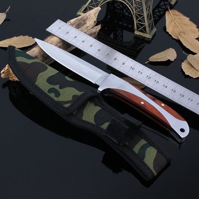 57Hrc Leggings Fixed Blade font b Knife b font Outdoor Survival Camping 440 CS GO font