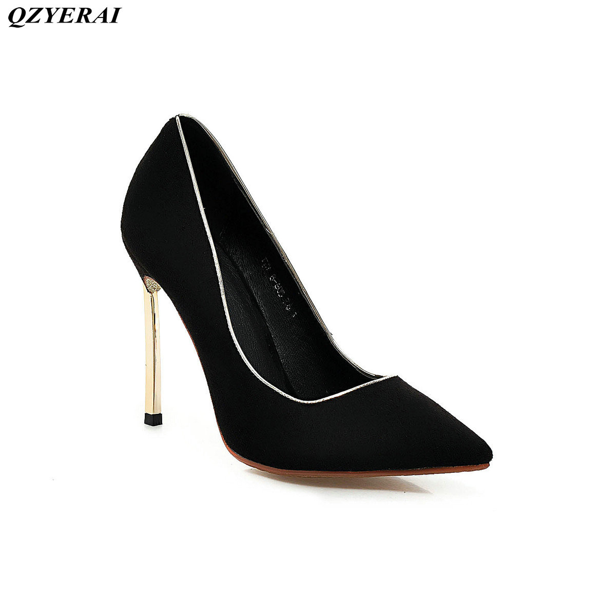 QZYERAI New metal high heel font b women s b font single font b shoes b