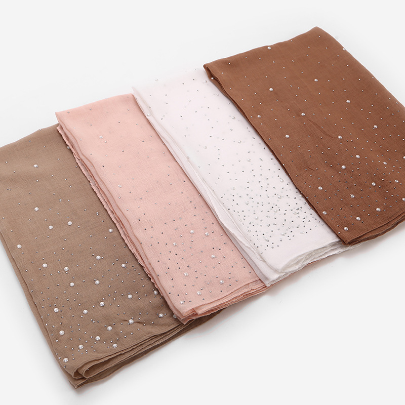 2019 Women Summer Breathable Cotton Pearl Hijab Scarf Women Shimmer Rhinestone Scarfs Shawl Head Hair Scarves for Ladies New in Women 39 s Scarves from Apparel Accessories