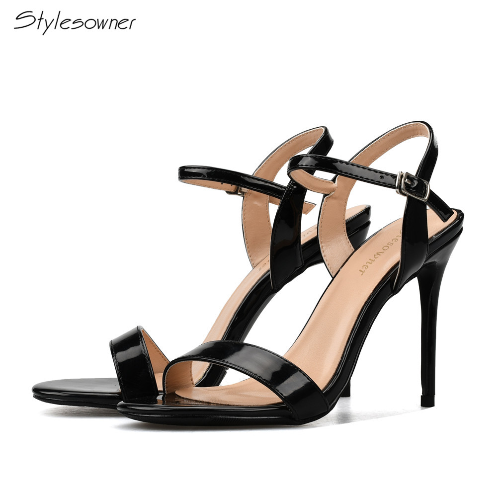 Stylesowner Ankle Strap Thin Heels Sandal Concise Solid Party Women Shoes Big Size Women sandal Color Black Nude High Heels stylesowner elegant lady pumps sandal shoe sheepskin leather diamond buckle ankle strap summer women sandal shoe