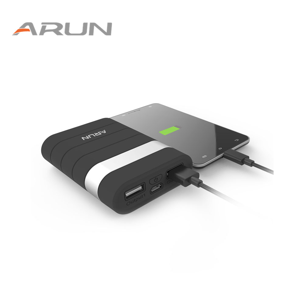 Arun high safety10000mah power bank dual usb with usb output 2 1a backup battery packs for