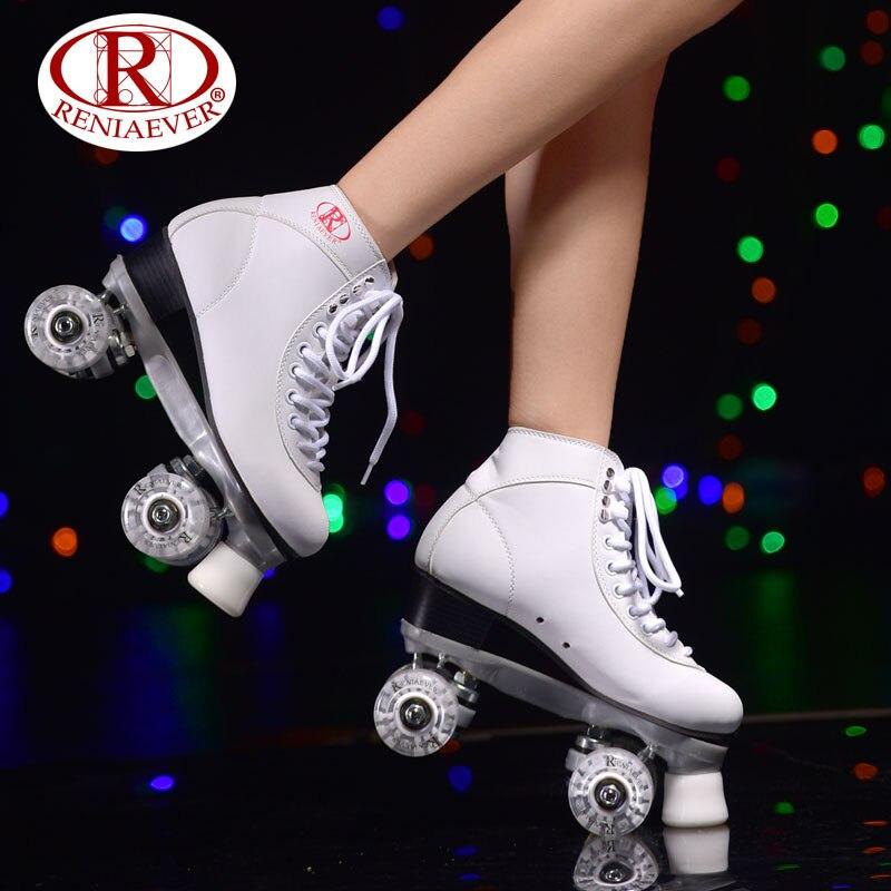 Prix pour Reniaever patins à roulettes double ligne patins blanc femmes lady adulte blanc led éclairage 4 roues deux ligne de patinage chaussures patines