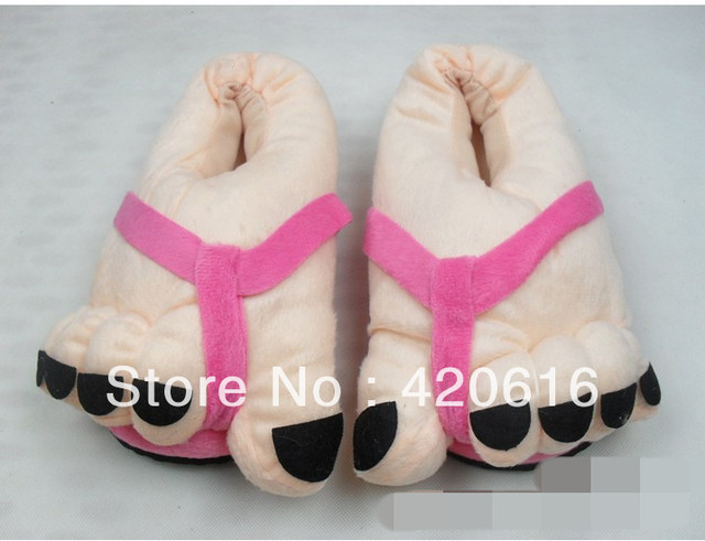 47955a6f6 Funny winter women's mens' Indoor House Big Toes Feet Warm Soft Slippers  Home Shoes Freeshipping 4Colors Wholesale