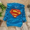 2016 Весной и Осенью мальчиков и девочек с длинными рукавами балахон свитер Корейской моды Супермен футболка