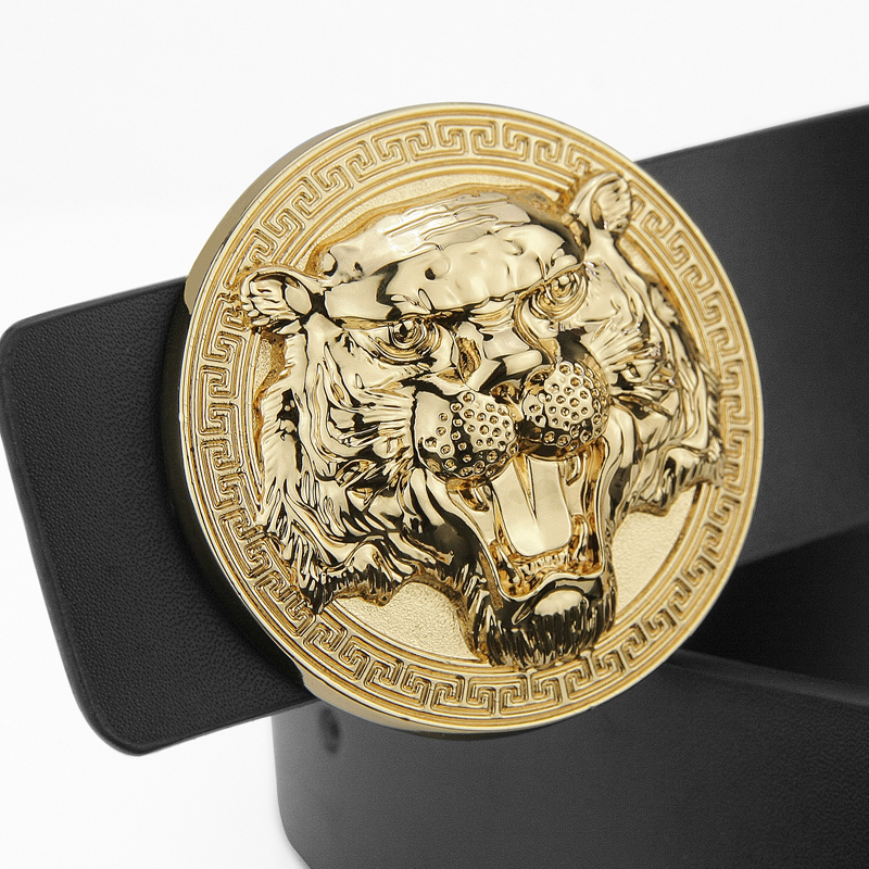 2017 Fashion Tiger belt men cintos masculinos Glossy designer belts genuine leather Round buckle cintos masculinos Waist Strap