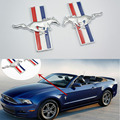 2pcs JDM Running Horse Emblem Metal Door Fender Badge Sticker Chrome for Ford Mustang