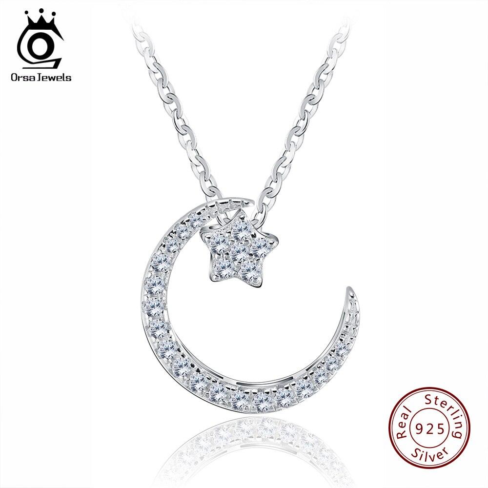 ORSA JOYAUX 925 Sterling Argent Moon Star Pendentif Colliers avec Cristal Autrichien pour Femmes Véritable Argent Bijoux Cadeau SN06