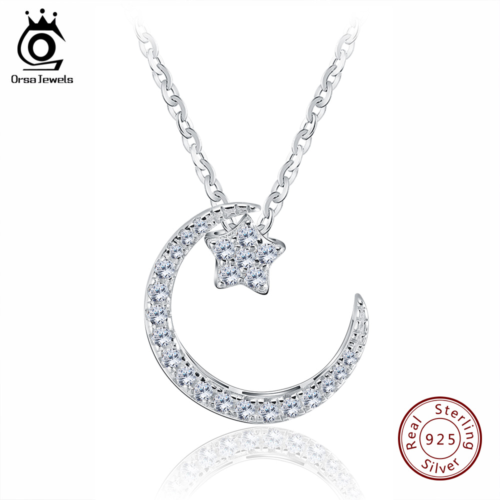 ORSA JEWELS 925 Sterling Silver Moon Star Pendant