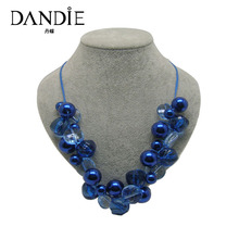 Dandie Blue Acrylic Bead Jewelry Necklace, Handmade Statement Necklace