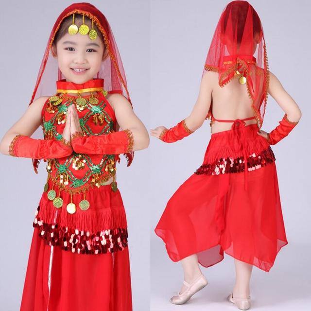 23363eb2df Bollywood Dance Costume Belly Dance Dress Kids Indian dancing Dresses Child  Girls Ballroom Chinese Folk Dance Costumes