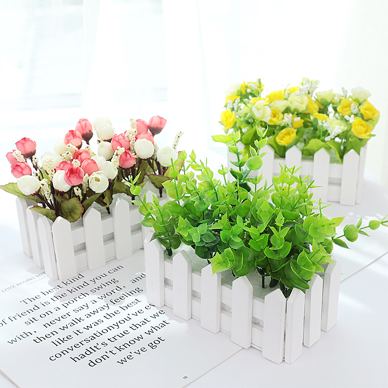 Mini Artificial Flower Fence Shed 16x8cm For Home Bedroom Deco For Photography Background Accessories Studio Photo DIY Ornament