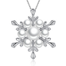 [YKIN] Ladies Jewelery 925 Sterling Silver Pearl Pendant Necklace Snowflake Pendant Pearl Jewelry Christmas Thanksgiving Gift