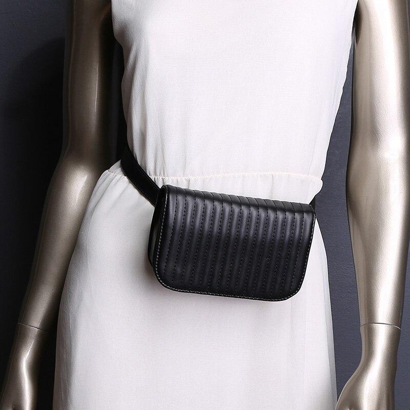 Wholikes 2018 Ny mode svart solid läder midja väska för kvinnor - Bälten väskor - Foto 6