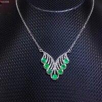 Природный зеленый изумруд Цепочки и ожерелья Природный камень кулон Цепочки и ожерелья 925 Щепка Мода треугольник женщины Ленточки вечерние