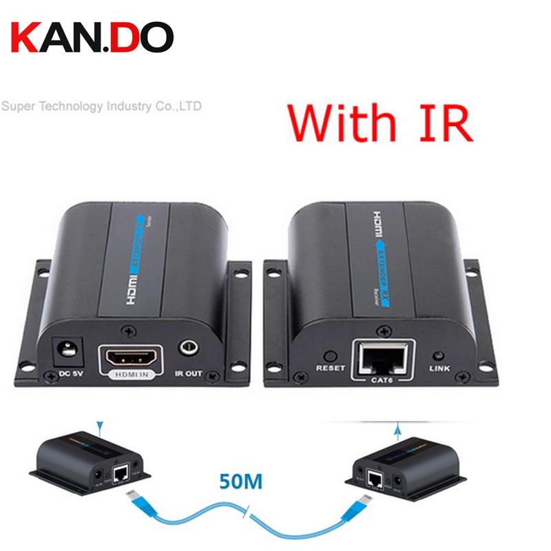 372A HDMI 1080P Extender W/ IR Converter Upto 50M,Video/Audio HD Signal Extender Over Cat6/Cat7 Network Extender AV Adapter