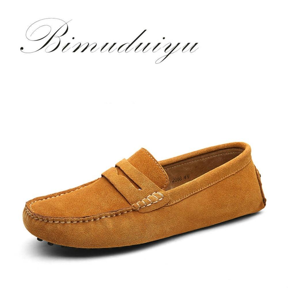 BIMUDUIYU Blagovne znamke Moški Loafers Pravo usnje Moški čevlji - Moški čevlji