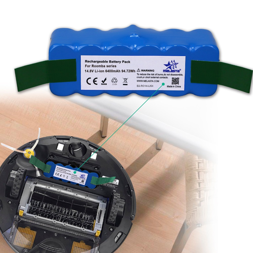 6.4Ah 14.8 V batterie li-ion pour iRobot Roomba 500 600 700 800 Série 510 530 550 560 580 620 630 650 760 770 780 790 870 880 R3 - 6