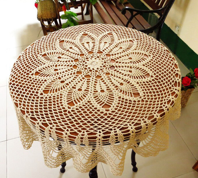 5PCS Hand Crochet Fish Woven Table Cloth Lace Hollow Round 90 Cm Cotton  Tablecloth Bedside Sofa