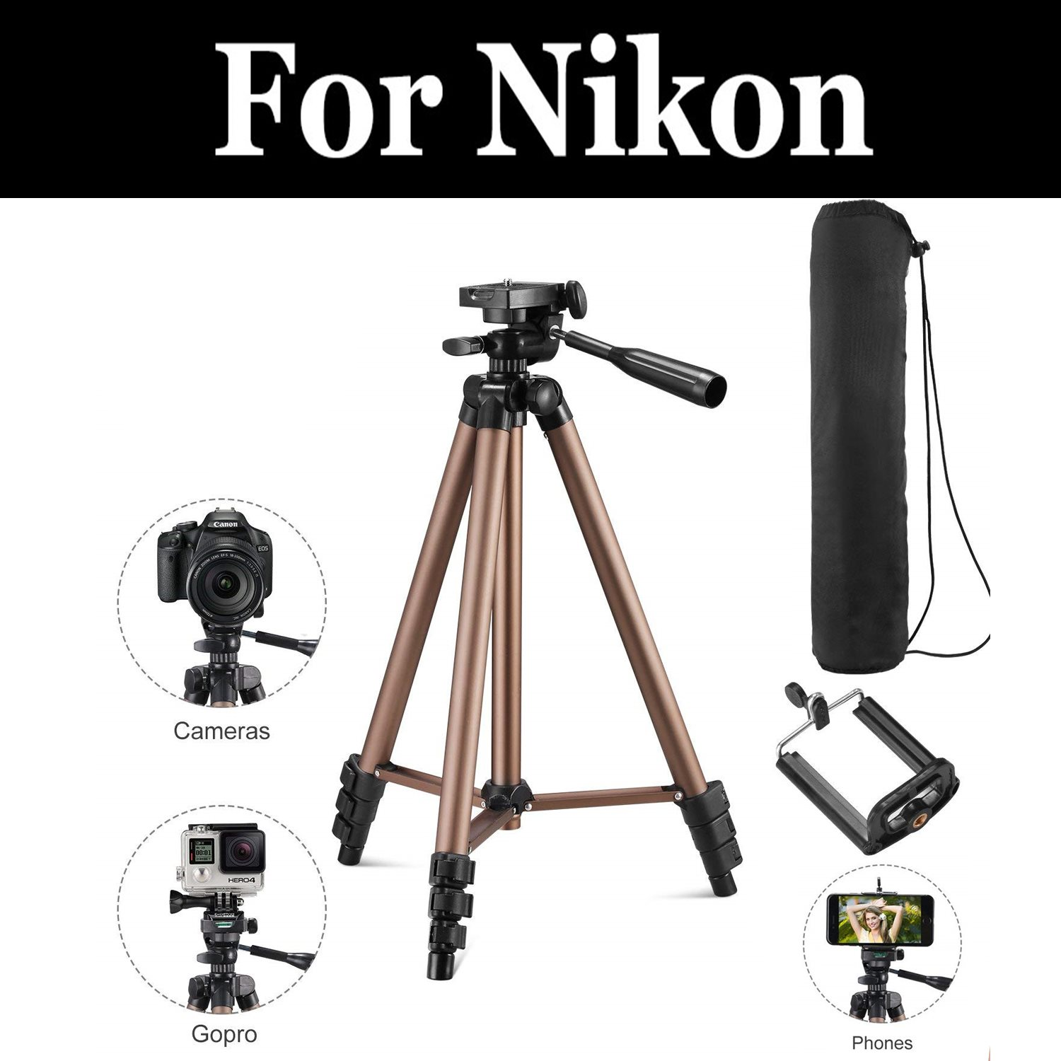 Professional Aluminum Travel Tripod&Ball Head Portable For Nikon D5100 D5200 D5300 D5500 D5600 D600 D610 D7000 D7100 D7200