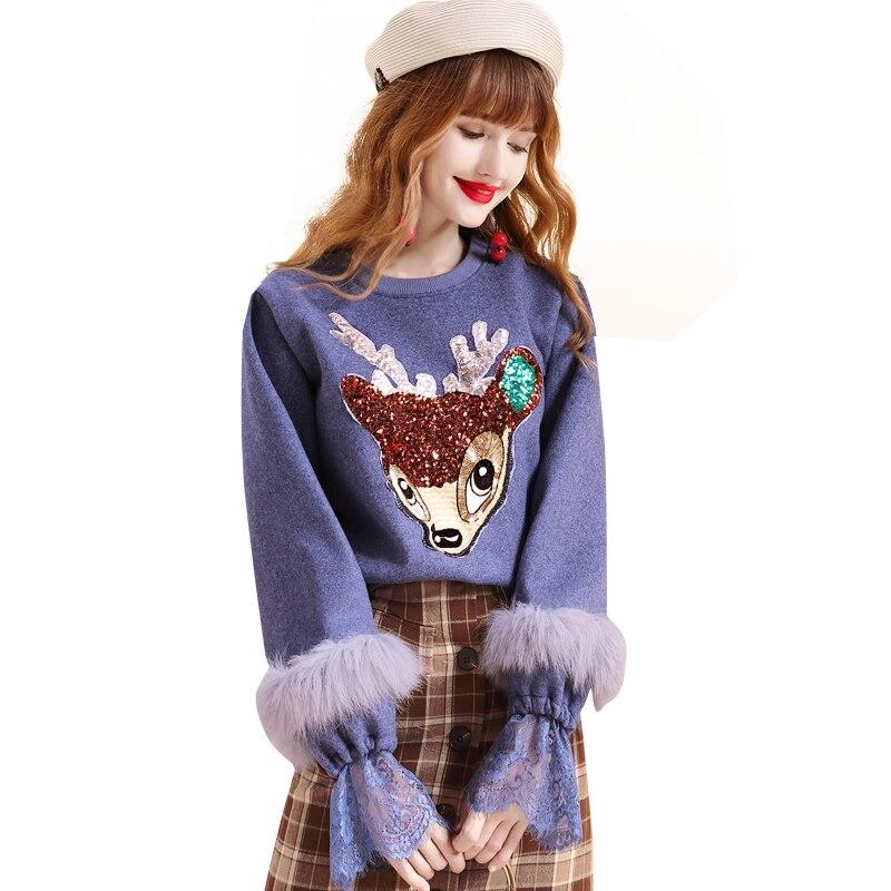 Lâche Cerfs xl Dessinée Fourrure Pourpre 7 Sequin Bande Sweat Harajuku Dentelle Coréenne S Streetwear Femmes Pull 1225 Shirts 2019 Laine De Mang qxxv4w7