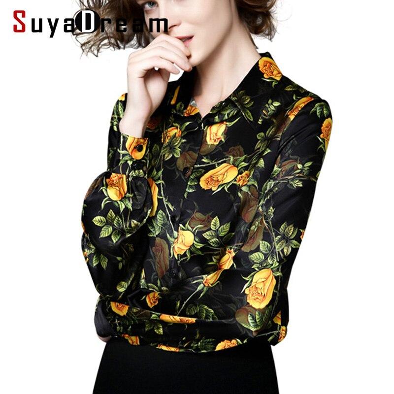 REAL SILK Women blouse long sleeve Print Silk Satin Blouses PLUS SIZE buttons shirt Office lady