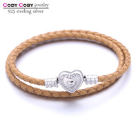 Double Gold Color Leather Snake Chain Charm Bracelets With 925 Sterling Silver Love Heart Clasp For