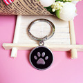2.5CM Tag key Circular pendants keychains  best friend gift Keychain cat Pet key ring Car keyrings Wholesale cheap Pink tag DIY