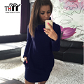 THYY Winter Casual Women's dresses 2017 Black Women Winter fleece dresses Solid Mandarin Collar Women dress Female Sexy Vestidos