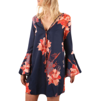 YJSFG HOUSE 2017 floral dresses Flare Sleeve A Line Dress Winter Autumn Dress Long Sleeve V Neck Sexy Elegant Dress Plus size