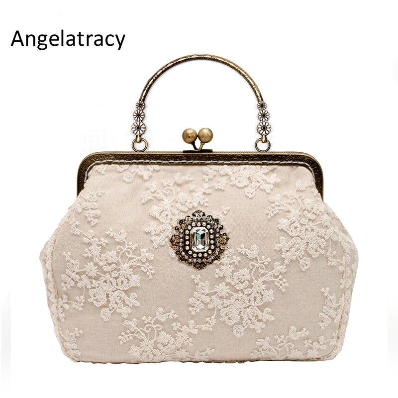 Angelatracy Beige Lace Designer Handbags High Quality Diamond Vintage Woman Bag 2018 Metal Frame Women Clutch Bag Free Shipping