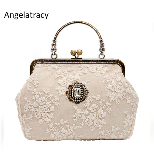 5ae226d2134 Angelatracy Beige Lace Designer Handbags High Quality Diamond Vintage Woman  Bag 2018 Metal Frame Women Clutch Bag Free Shipping -in Top-Handle Bags ...