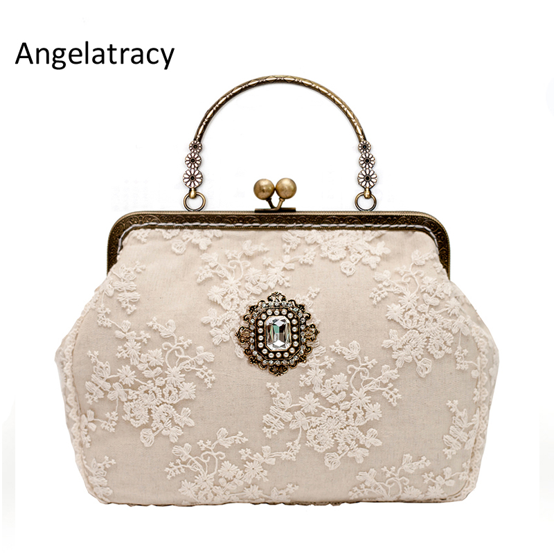 Angelatracy Beige Lace Designer Handbags High Quality Diamond Vintage Woman Bag 2018 Metal Frame Women Clutch Bag Free Shipping