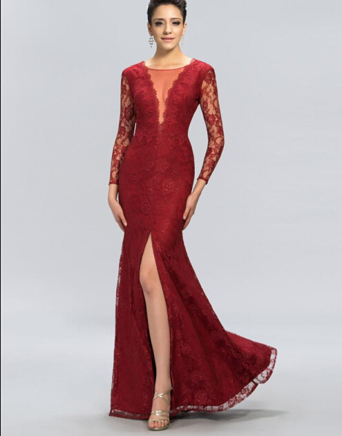 2019 Custom Made Best Seller Deep V-Neck & V-Back Full Sleeve Floor-Length Evening Dresses Lace Mother of the Bride Dresses